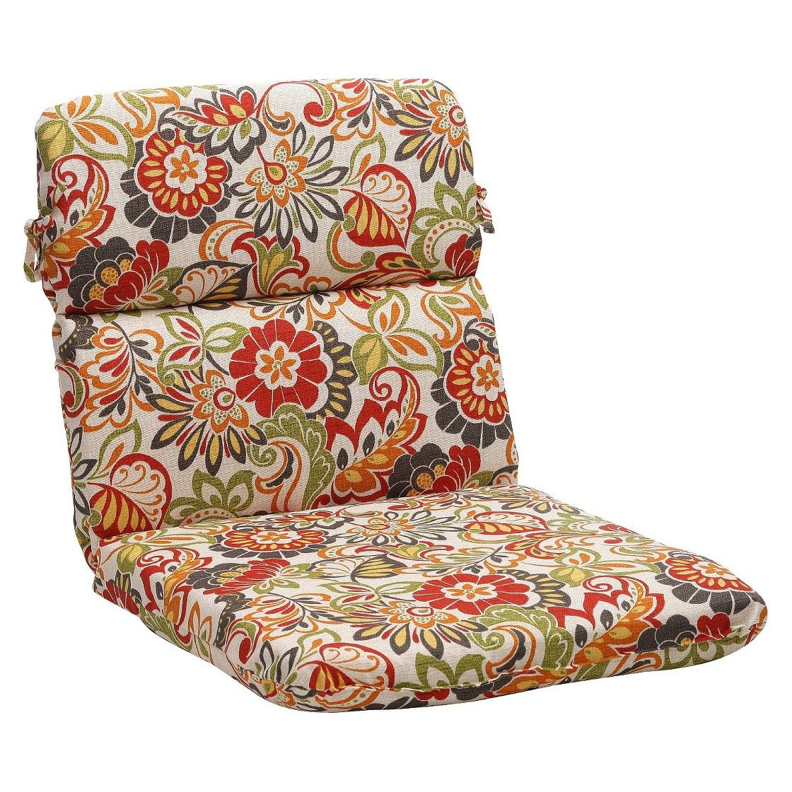 Outdoor Chair Cushion Green/OffWhite/Red Floral