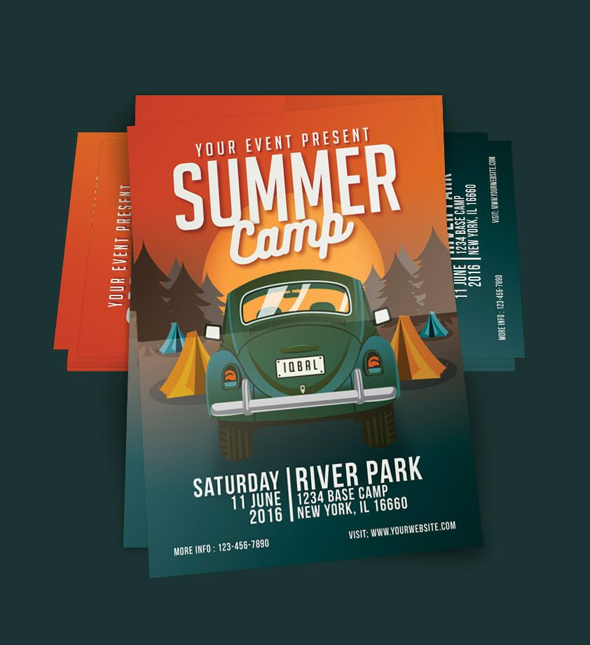 Summer Camp Flyer Design Template Psd  Poster    Flyer