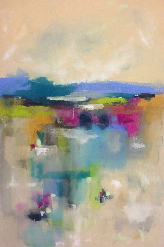 Colorful Abstract Patchwork Landscape Seascape Painting -Color ...