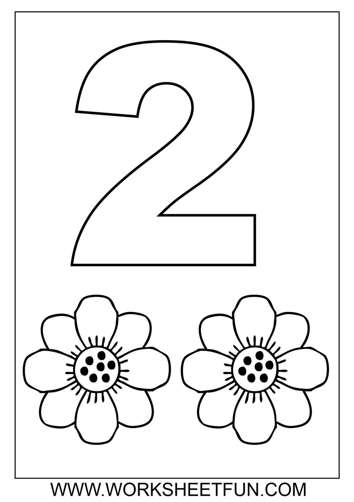 preschool number coloring pages - Number 2 Coloring Page