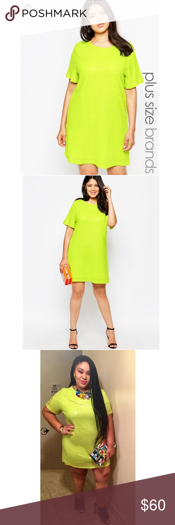 Worn once asos curve truly you neon green dress my posh picks