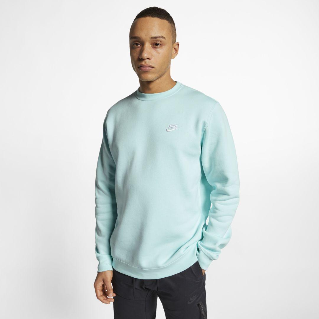 Nike Sportswear Club Fleece Crew Size 3xl Teal Tint Long Sleeve Tshirt Men Sportswear Nike Sportswear [ 1080 x 1080 Pixel ]