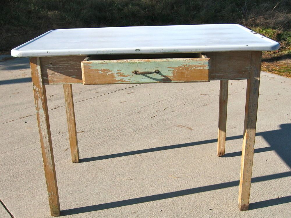 Antique 1940 S Hoosier Table Porcelain Enamel White Top Green Base W Drawer Small Kitchen Storage Table Table Makeover