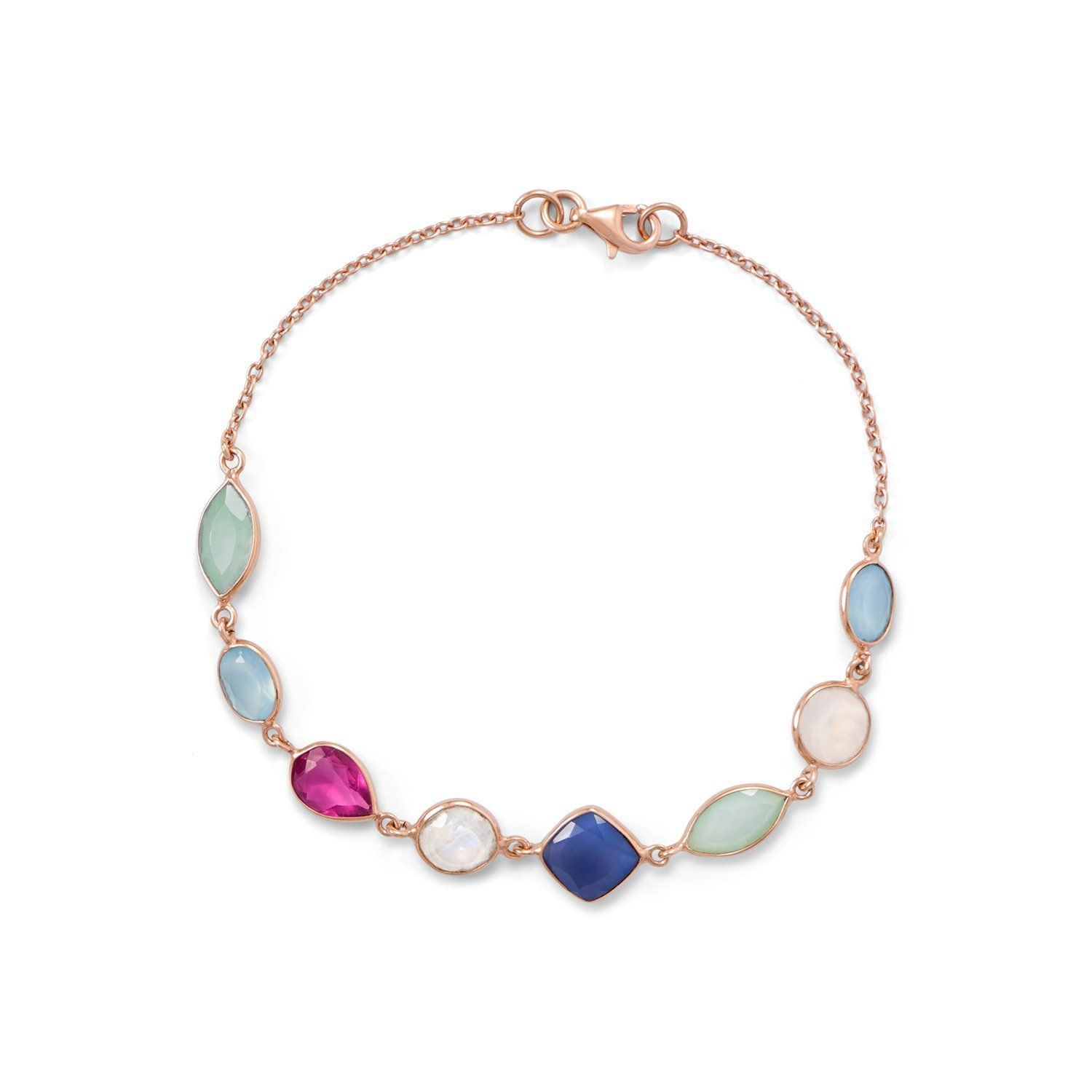 14 Karat Rose Gold Plated Multi Gemstone Bracelet Gemstone Rose