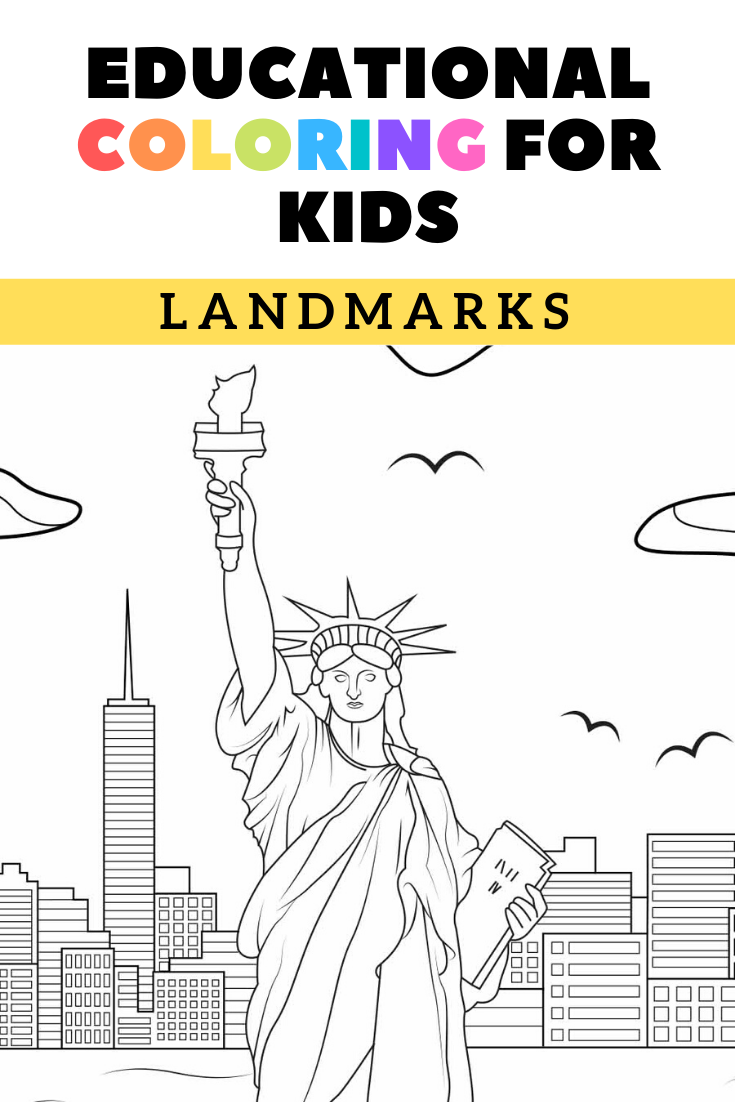 Landmark Coloring Pages Printable Travel Coloring Book Etsy In 2021 Coloring For Kids Printable Activities For Kids Coloring Pages For Kids