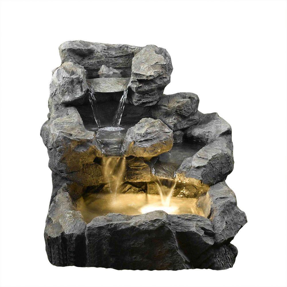 Rock Creek Cascading Outdoor Indoor Fountain With Illumination