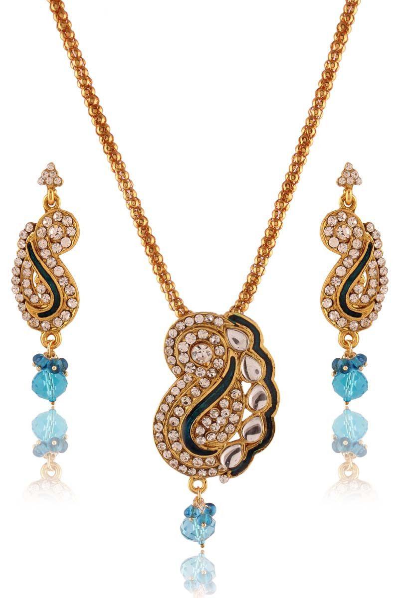 Sky blue gold plated kundan pendant set jewellery on variation