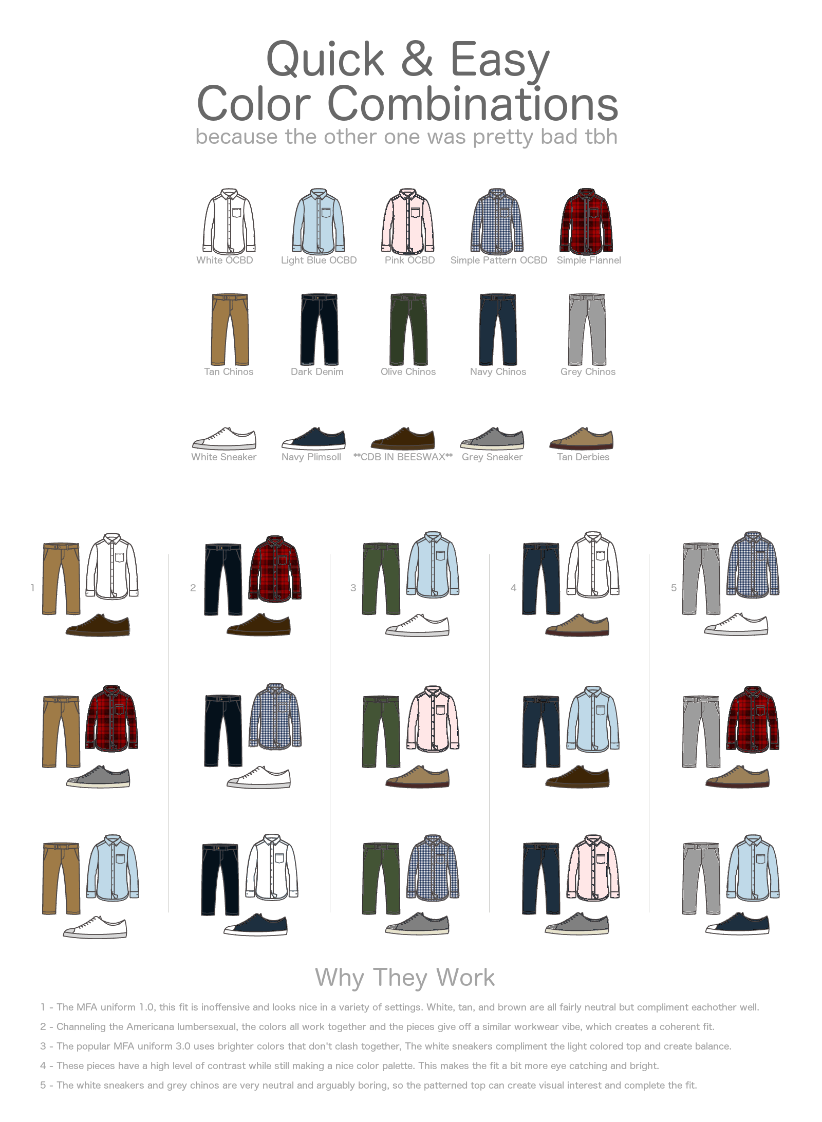 Quick And Easy Mens Casual Fashion Color Combination Chart Neogaf