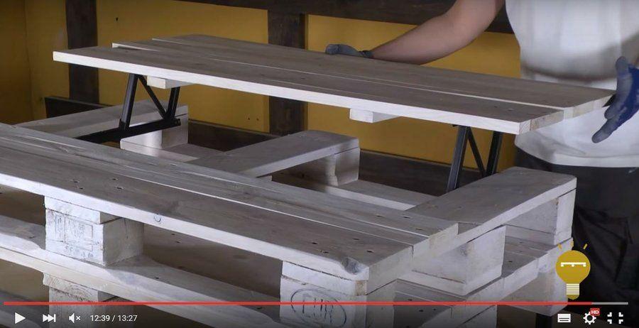C mo hacer una mesa elevable con dos palets bricolaje - Como hacer una mesa con palets ...