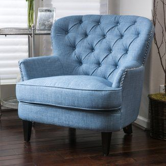 Attractive French Country Wingback Chair In Denim