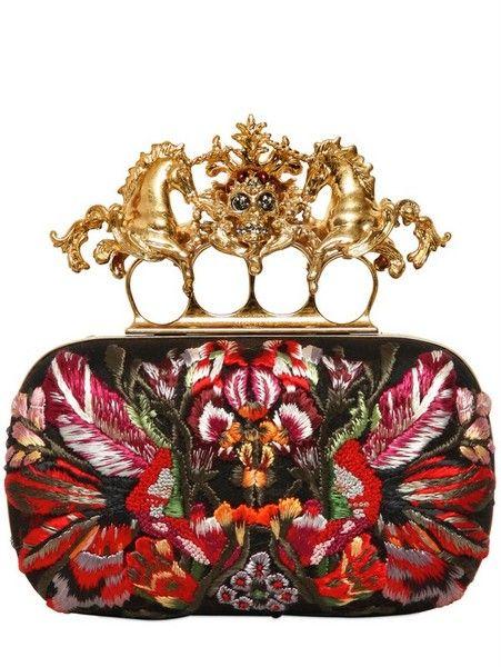 Alexander McQueen Unicorn (!!) Skull Flower Appliqué Box Clutch.