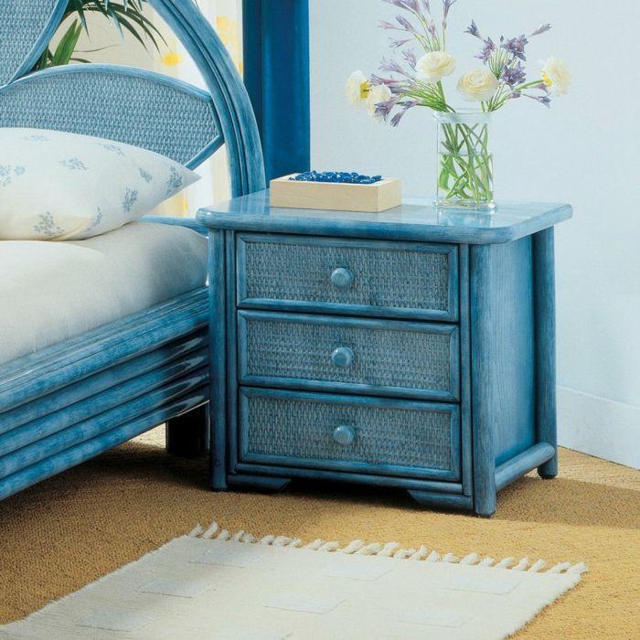 table de chevet déco bleu