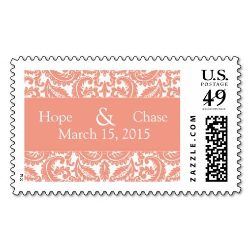 Coral Damask Wedding Stamp   Zazzle com   Coral themed