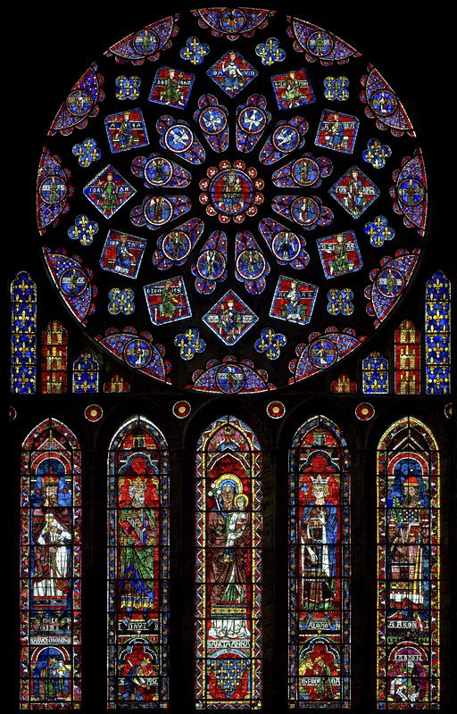 Chartres Cathedral  BAY 121: The North Transept Rose Window  France (c. 1220)  [Entire Window; A2 - Melchizedek; C2 - Saint Anne carrying the infant Mary; D2 - King Solomon; E2 - Aaron]
