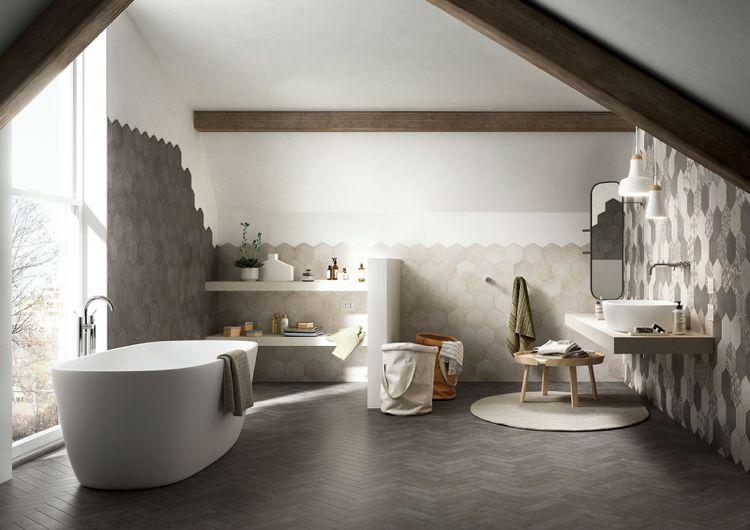 Badezimmer Unterm Dach Mit Hexagon Fliesen