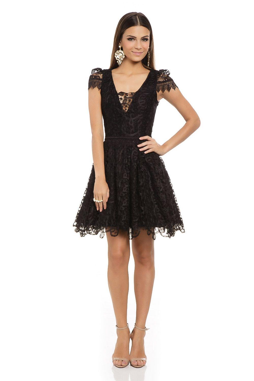 91b6f957a Vestido Curto Renda Rodado Preto - roupas-festas-vestido-curto-renda-rodado-preto  Iorane