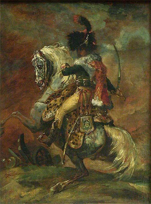 Officier de chasseurs à cheval de la garde impériale chargeant H. : 0,53 m. ; L. : 0,40 m. Première esquisse du grand tableau exposé avec succès au Salon de 1812 (salle 77, Mollien). Une autre, plus avancée, existe au musée de Rouen.