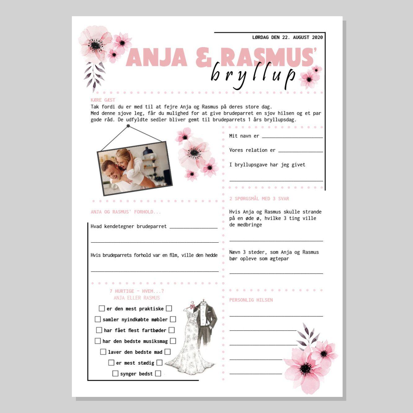 Bryllups Quiz Med Lyserode Blomster Quizzen Kan Bestilles Pa Hjemmesiden Hvor Der Ved Bestilling Oplyses Navn Dato Samt Sende I 2020 Bryllup Gaestebog Bryllup Quiz