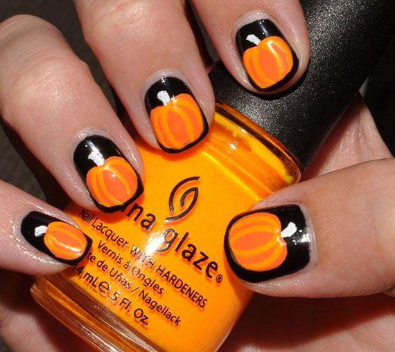 Thanksgiving Nail Art Ideas for Beginners - Pumpkin Nail Art Designs - Fotos De Uñas Color Naranja – 50 Ejemplos Orange Nails Nails