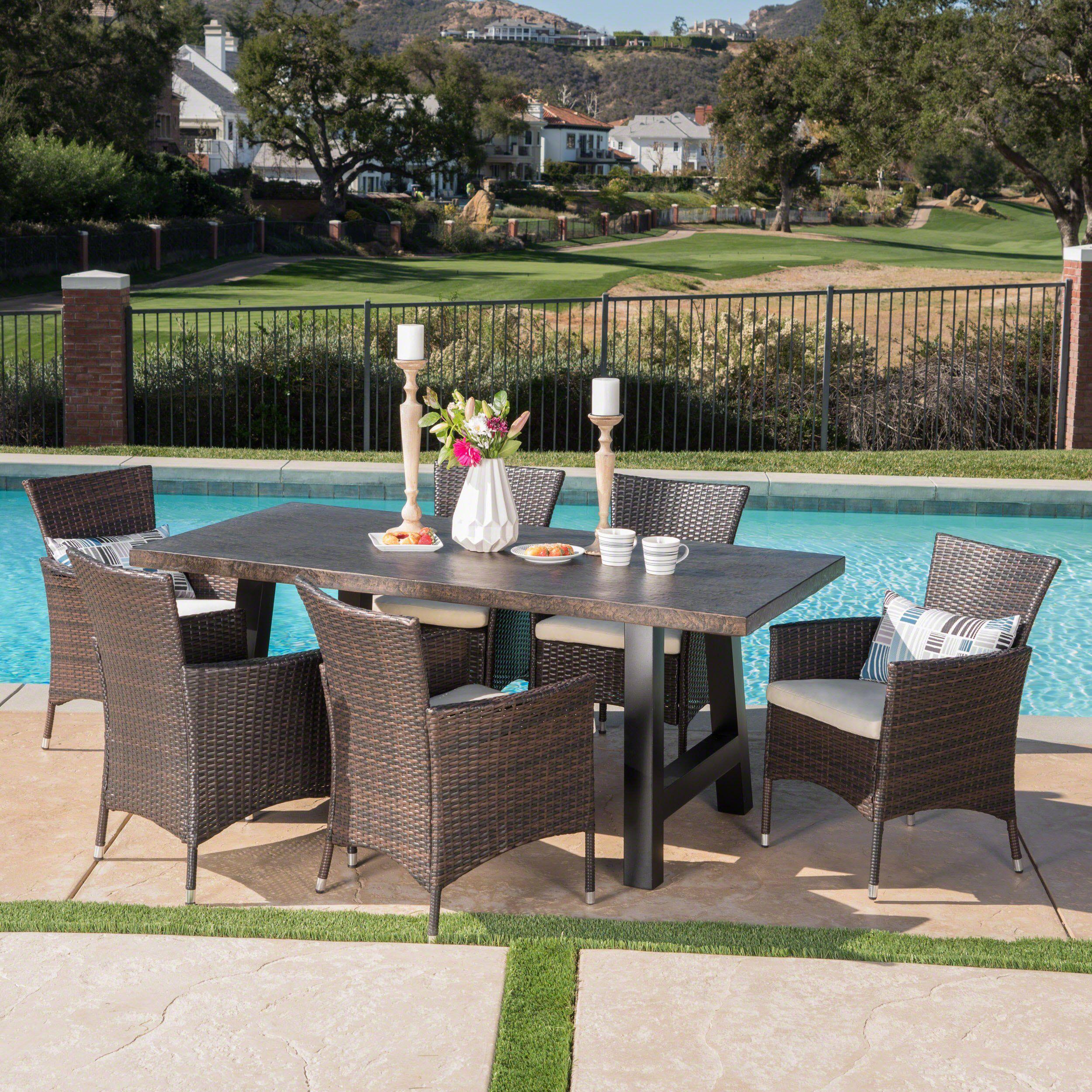 Great Deal Furniture Muriel Outdoor 7 Piece Multibrown Wicker