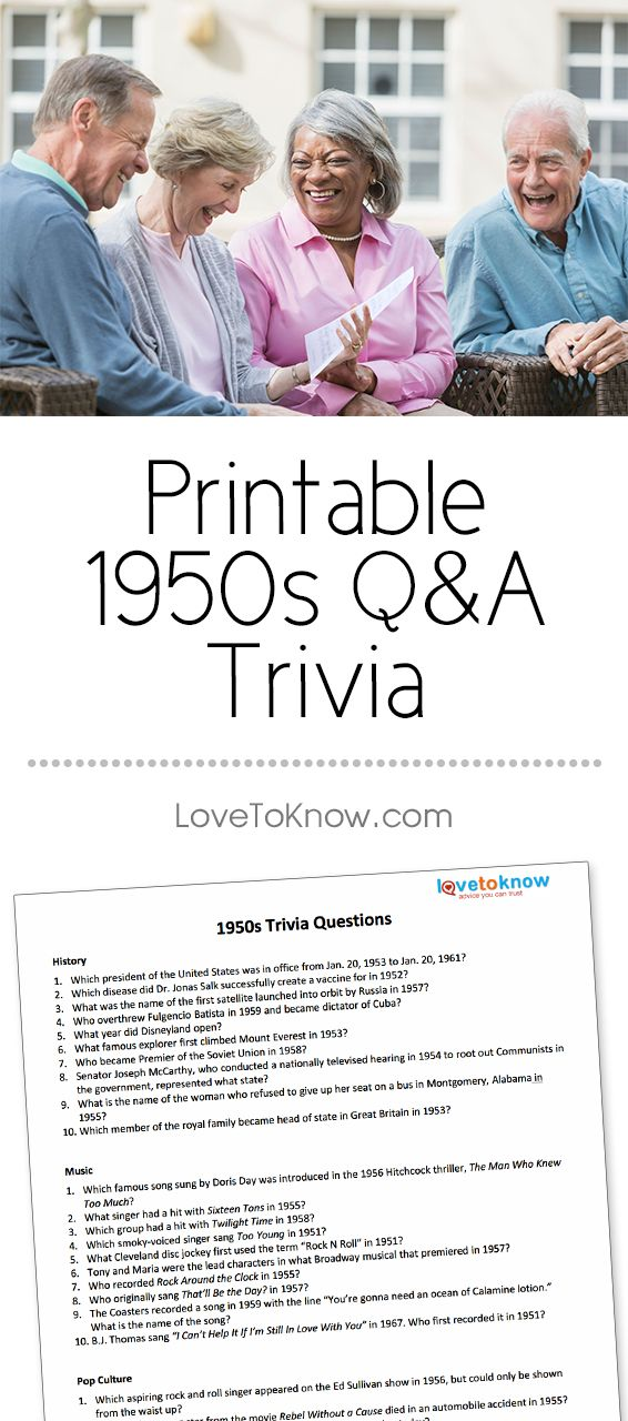 graphic about 1950 Trivia Questions and Answers Printable named 50s Trivia Printable Concerns and Methods Free of charge Printables