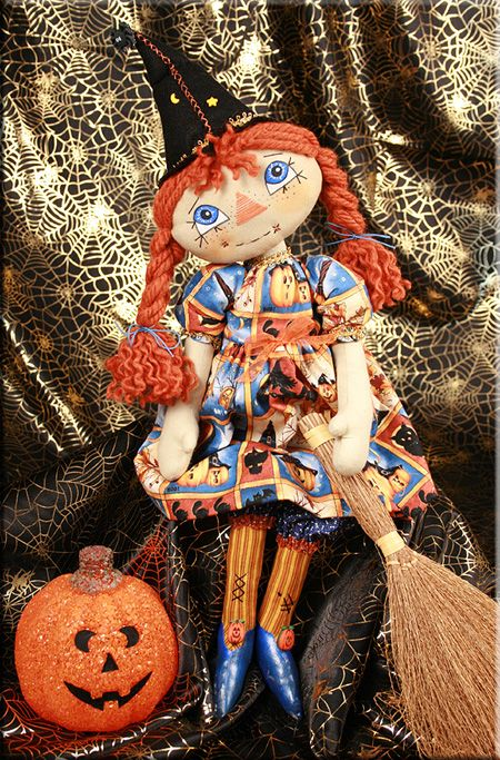 Polly Pumpkinwitch cloth doll witch  Created by Paula Carter  www.allbear.co.uk    #doll #dolls #witch #Halloween #artdoll