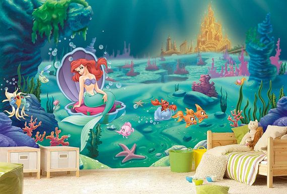 Little mermaid wall mural ariel wallpaper wall d cor for Ariel wall mural