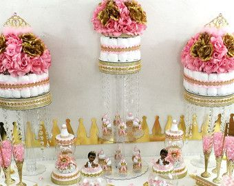 Princess Baby Shower Candy Buffet Centerpiece With Baby Shower Favors /  Girls PINK And GOLD Baby Shower Royal Princess Theme Decorations