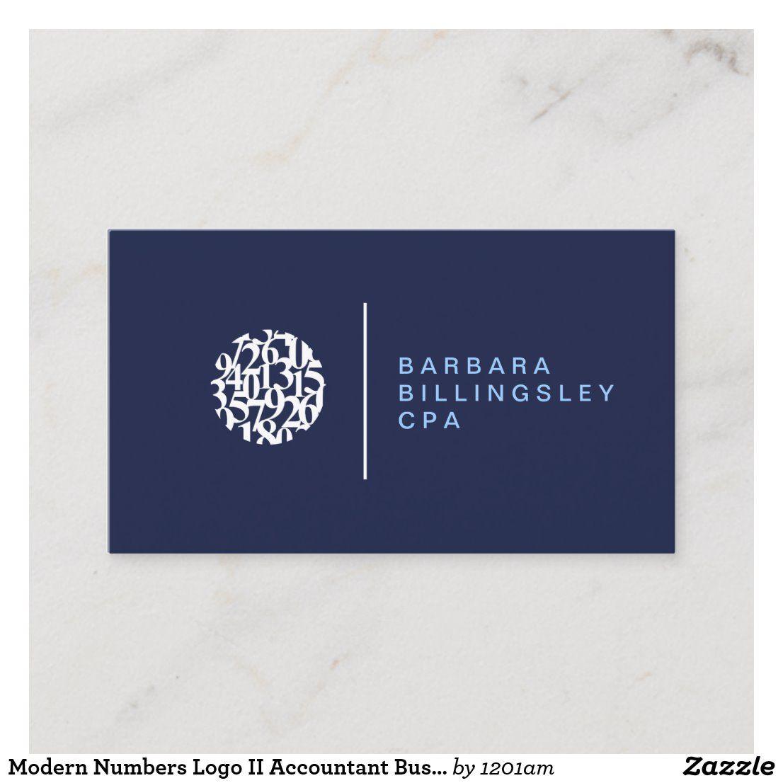 modern numbers logo ii accountant business card  zazzle