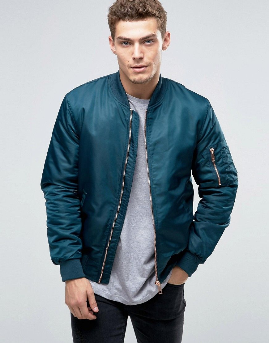 Image 1 Of River Island Ma1 Bomber Jacket In Teal Bomber Jacket Jackets Teal [ 1110 x 870 Pixel ]