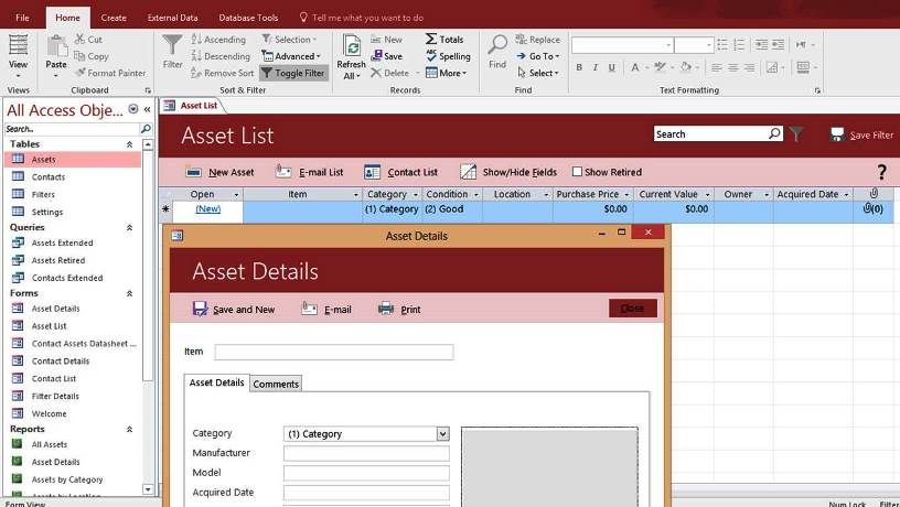 Microsoft Access Asset Tracking Management Database Templates - asset inventory template