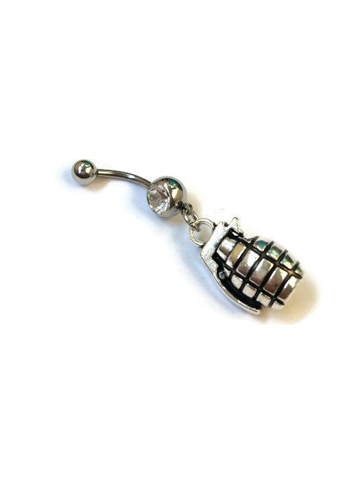 345c2ba2f9da7 Grenade Belly Ring, Grenade Bomb Belly Button Piercing, Hand Grenade ...