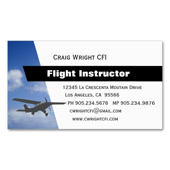 Aviation Flight Instructor Double Sided Standard Business Cards Pack Of 100 This Great Card Design Is Available For Customization