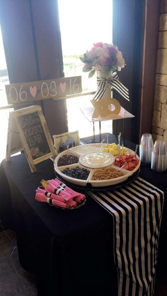 Kate Spade themed bridal shower: Self-Serve Yogurt Bar