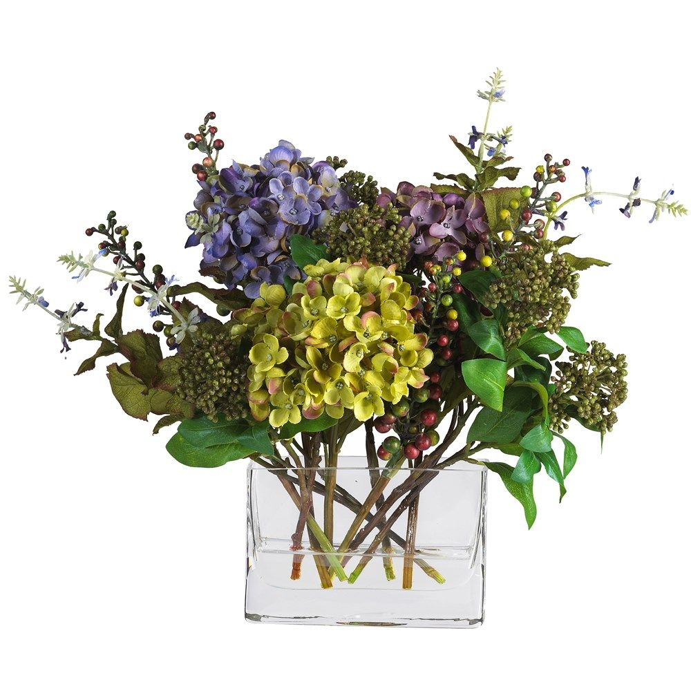 Nearly Natural 4670 Mixed Hydrangea In Mixed With Rectangle Vase
