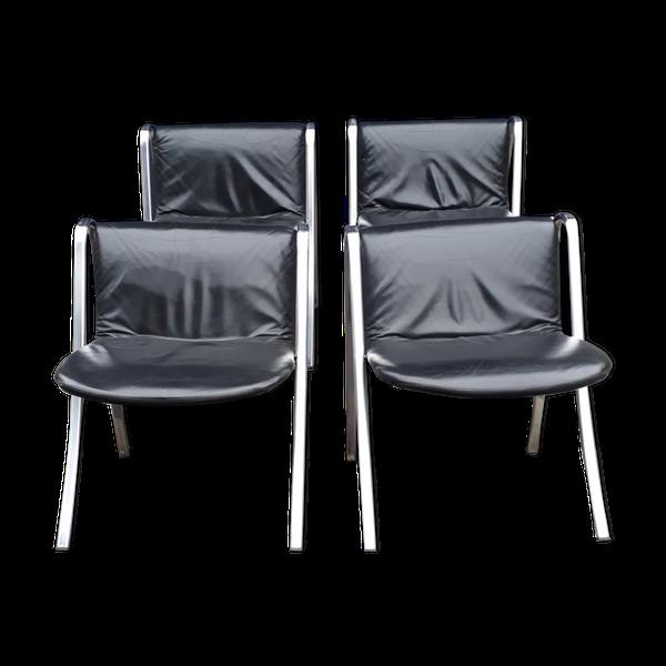 4 chaises design en cuir chromé et italien   – Products