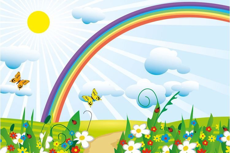 Butterflies And Rainbow Wallpaper Rainbow Design Rainbow Cartoon Rainbow Wallpaper