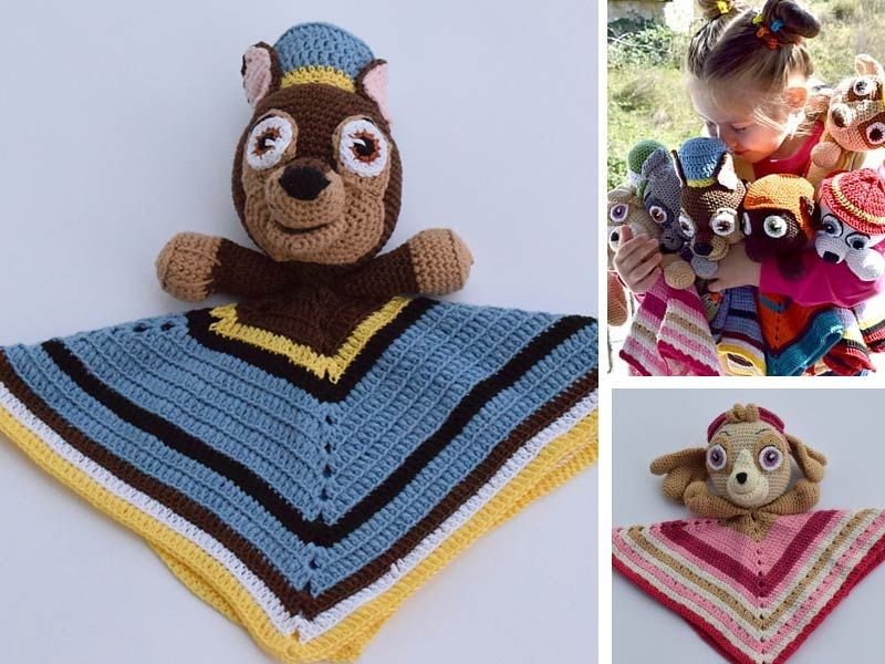 Paw Patrol Chase Lovey Crochet Free Pattern - Free crochet pattern, Crochet, Chase paw patrol, Free crochet, Crochet patterns free blanket, Paw patrol hat - Almost every children love Paw Patrol Rescue Team cartoon  This Paw Patrol Chase Lovey Crochet Free Pattern is to crochet the main character Chase blanket