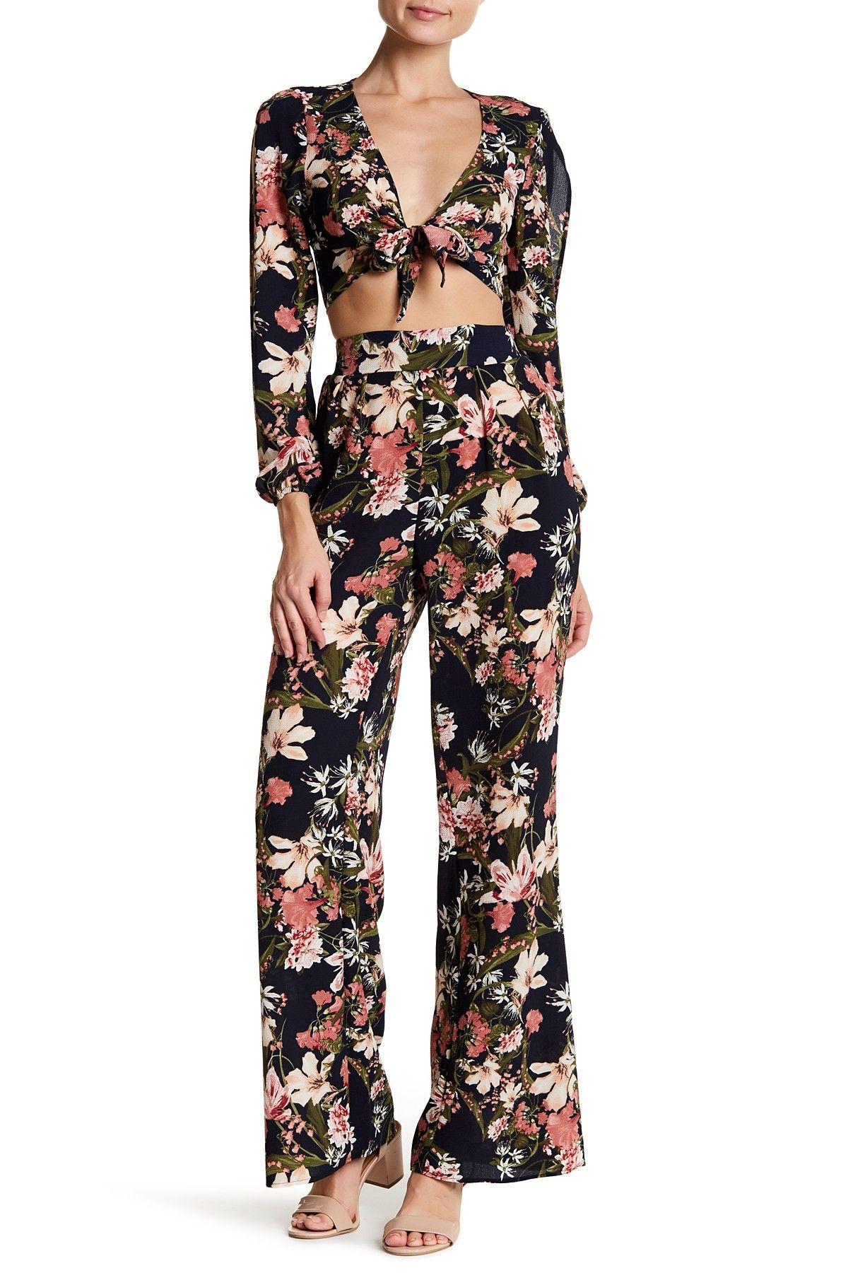 Front Tie Floral Split Sleeve Blouse & Pant 2-Piece Set