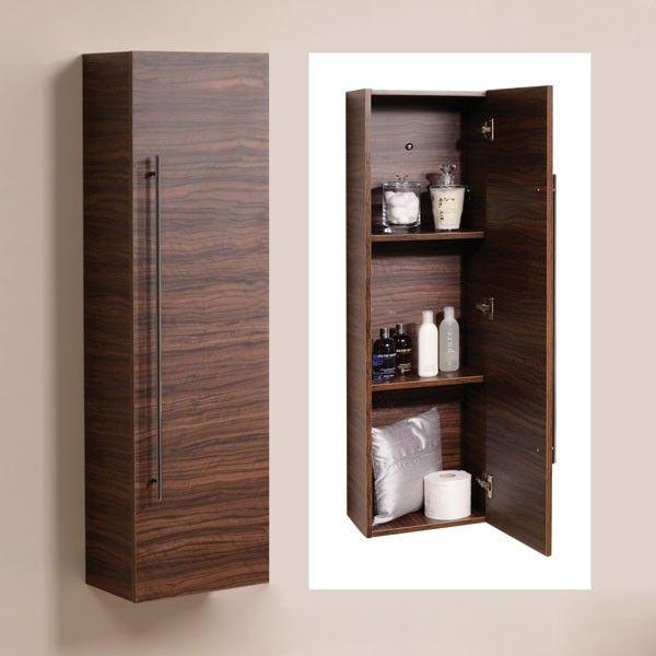 Aspen 120cm Walnut Wall Mounted Storage Unit Bathroom Tall