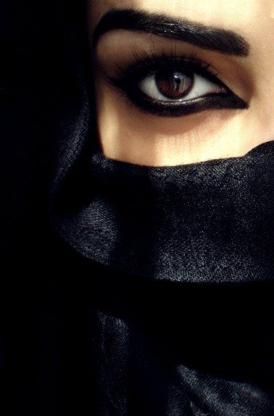 Hidden Face Burqa Black Coal Black Eyeliner Arabian Eyes Arab