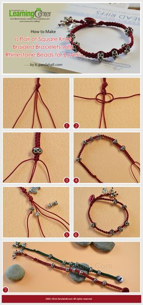 How to Make a Pair of Square Knot Braided Bracelets with Rhinestone Beads for Lovers from LC.Pandahall.com