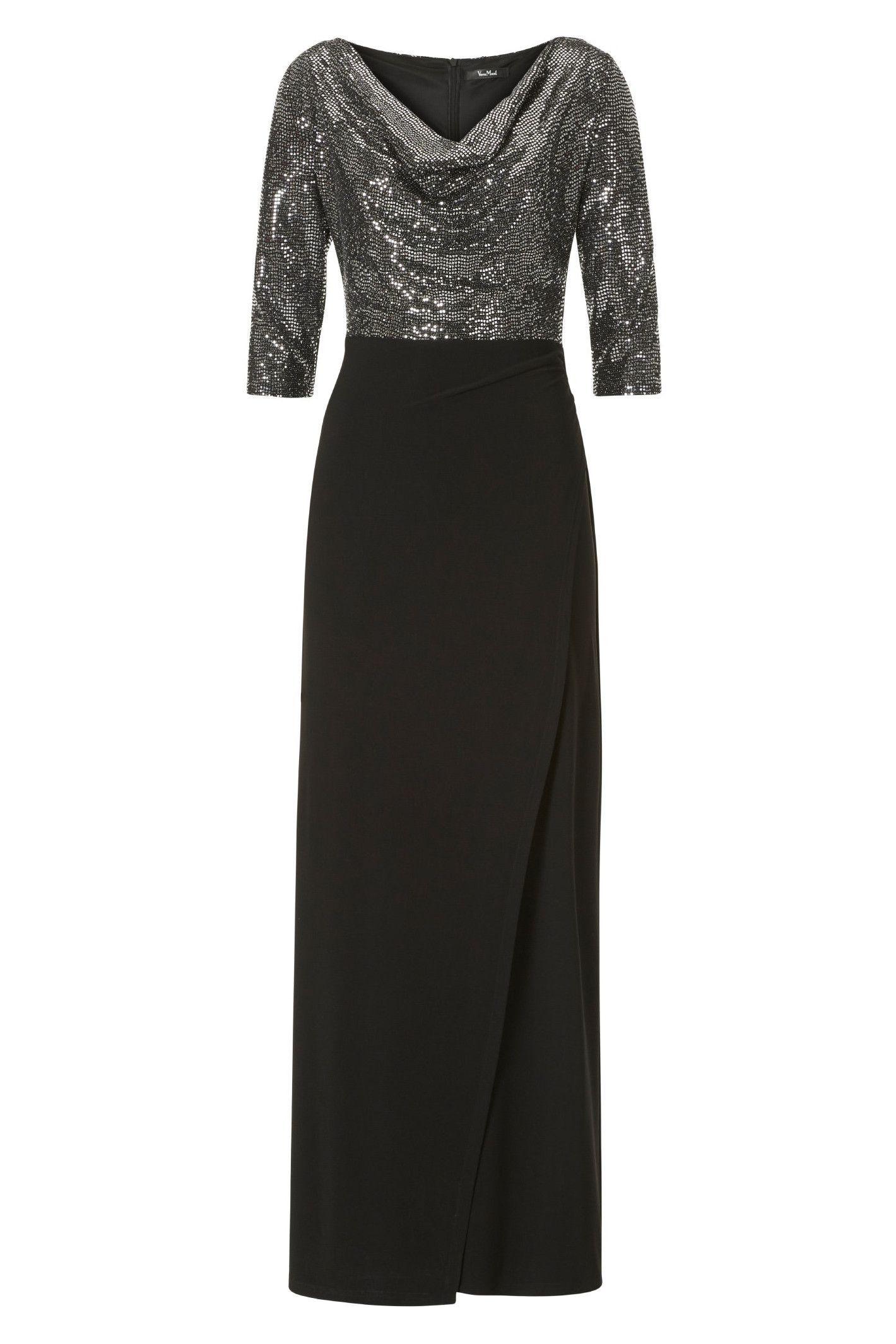 elastisches festliches kleid schwarz silber vera mont in