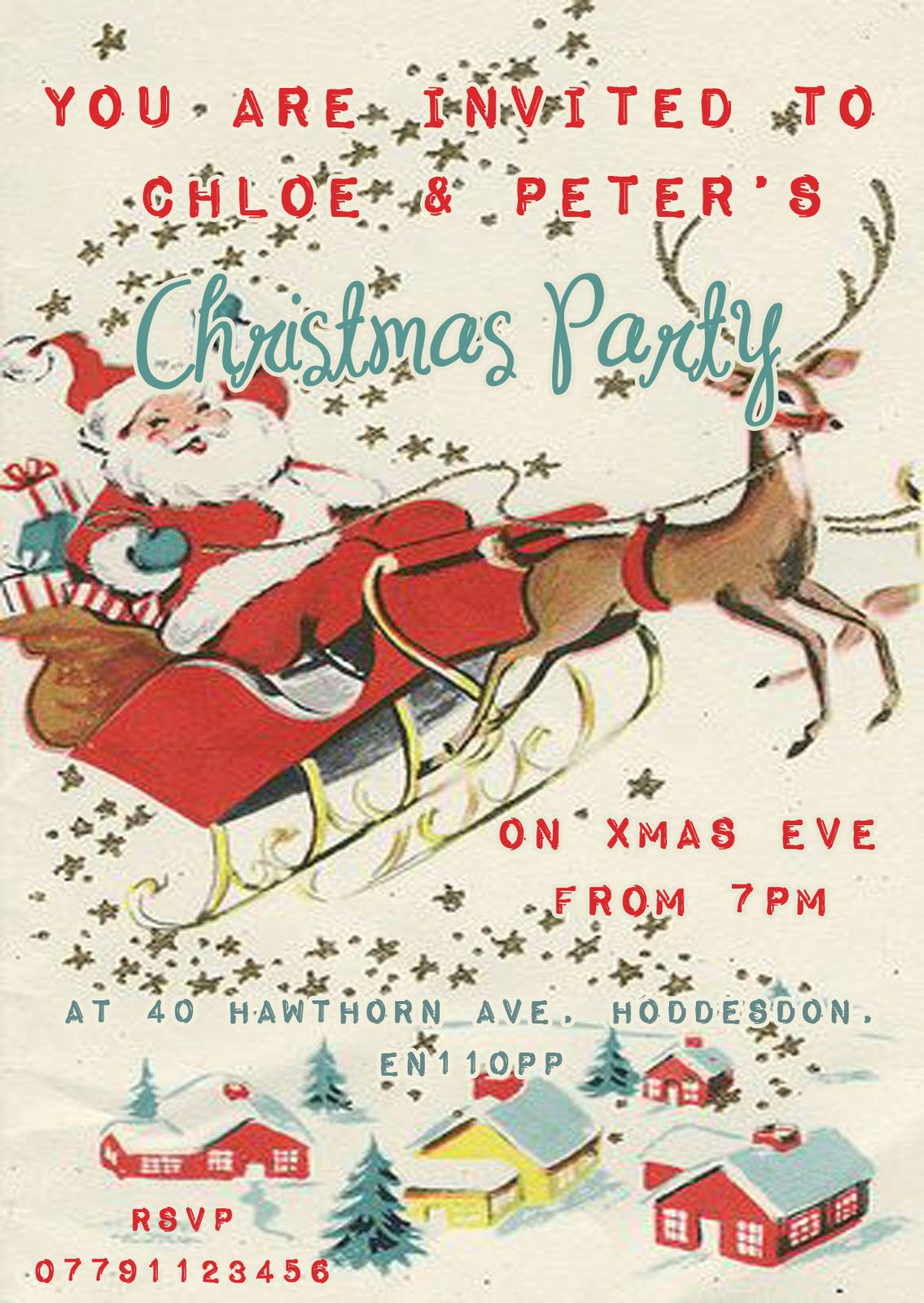 Personalised Vintage Christmas Party Invitations Packs Of 10 ...