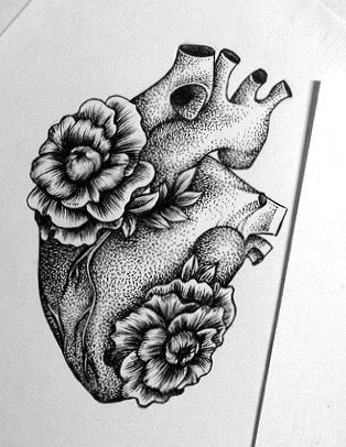 Anatomical coronary heart with flowers tattoo concepts