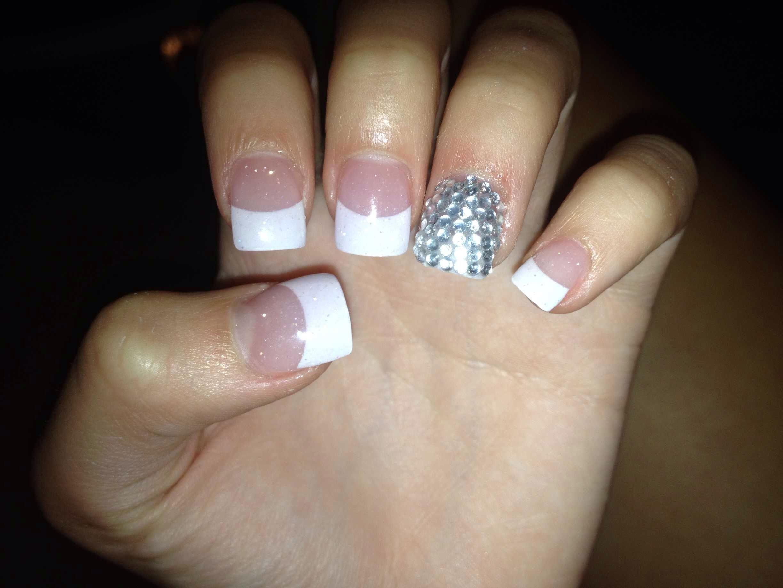 French tip acrylic nails diamonds