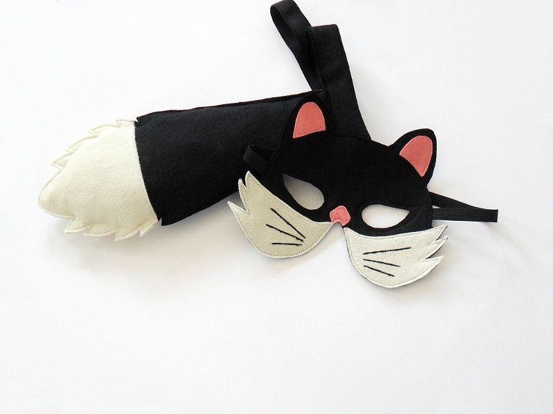 Black Cat Plush Animal Mask on Headband