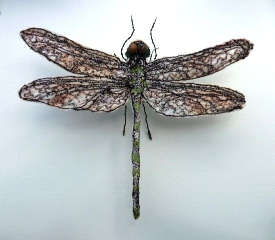 Artist: Jane PriceTitle: Dragonfly BoxMaterial: Embroidered Fabric, Paper  and WireMeasurements: 32 x 32 cm, Depth