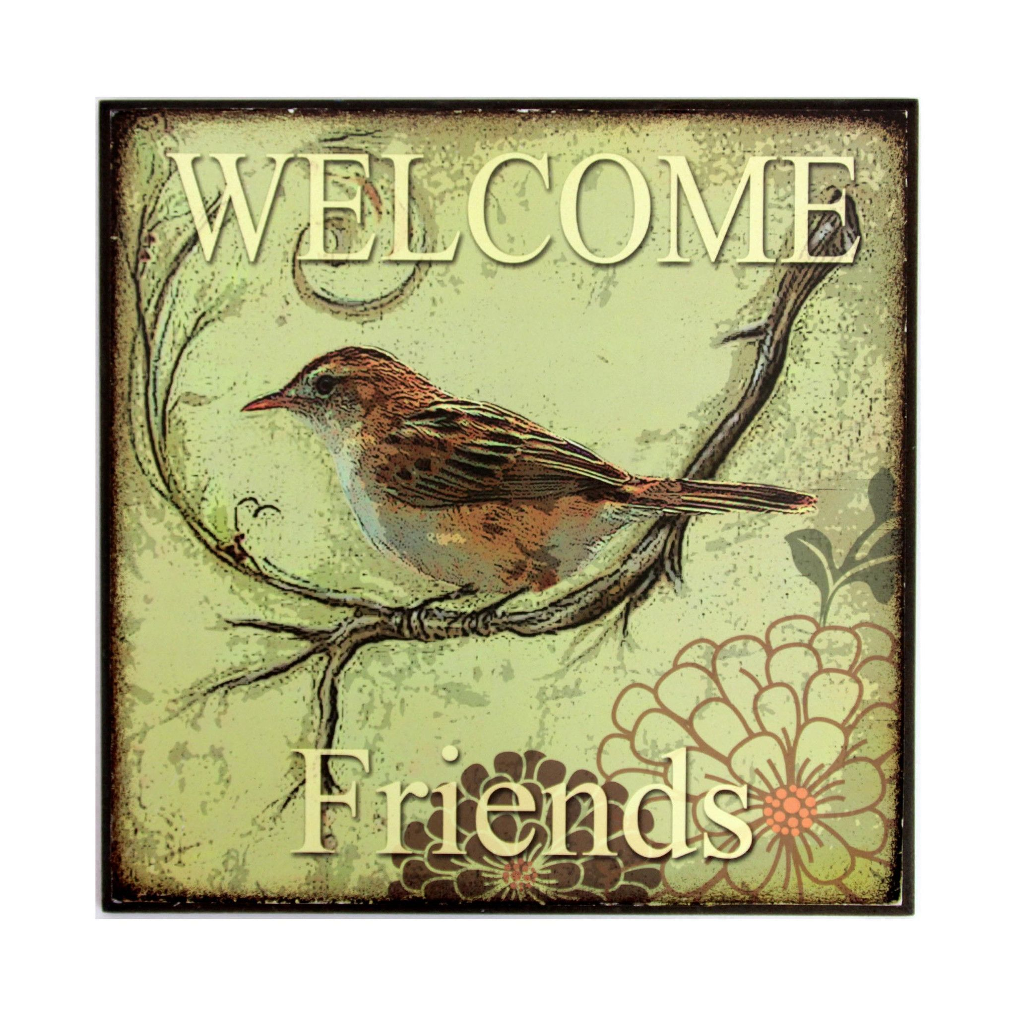 Bird Wall Plaque Welcome Friends | Wall Decor | Pinterest | Bird ...