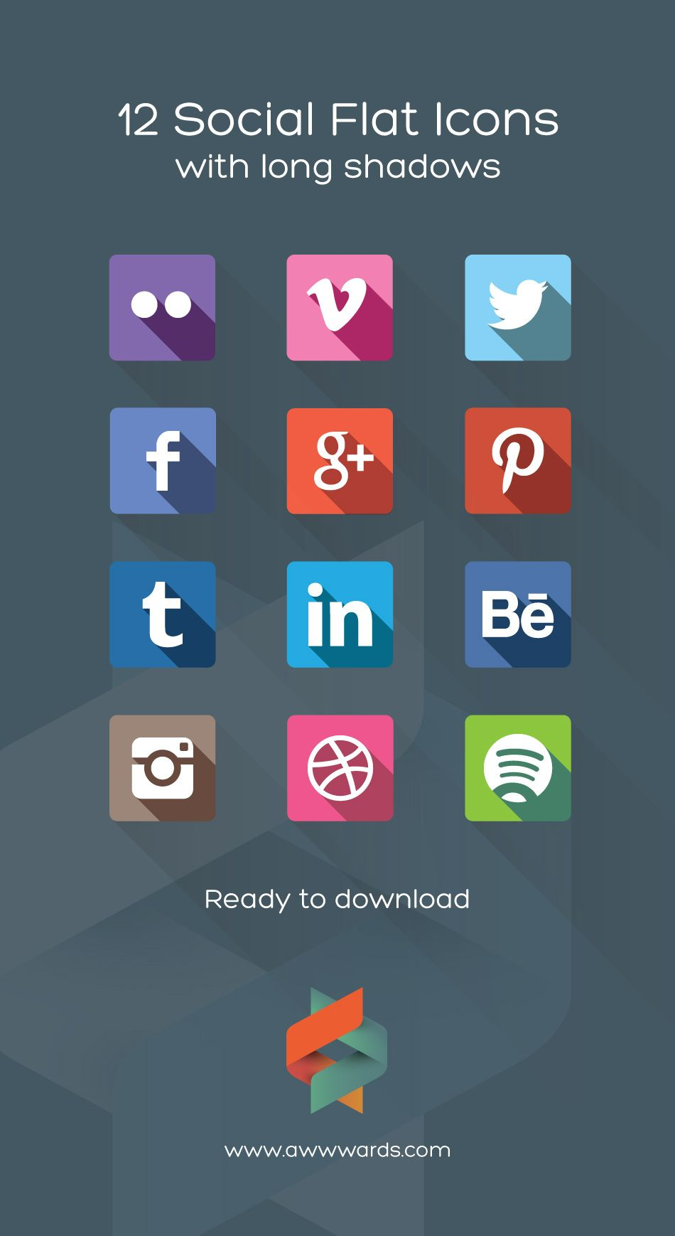 download 12 social flat icons flat long shadows  step